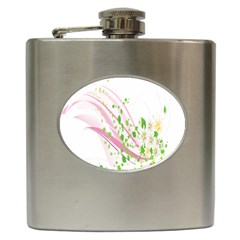 Sunflower Flower Floral Leaf Line Wave Chevron Pink Hip Flask (6 Oz) by Mariart