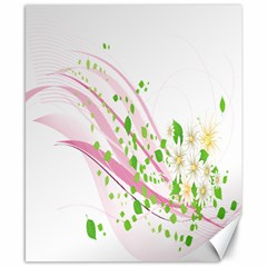Sunflower Flower Floral Leaf Line Wave Chevron Pink Canvas 8  X 10  by Mariart