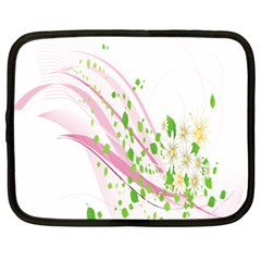 Sunflower Flower Floral Leaf Line Wave Chevron Pink Netbook Case (large) by Mariart