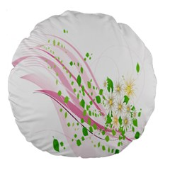 Sunflower Flower Floral Leaf Line Wave Chevron Pink Large 18  Premium Round Cushions by Mariart
