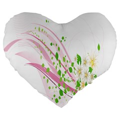 Sunflower Flower Floral Leaf Line Wave Chevron Pink Large 19  Premium Flano Heart Shape Cushions by Mariart