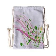 Sunflower Flower Floral Leaf Line Wave Chevron Pink Drawstring Bag (small) by Mariart