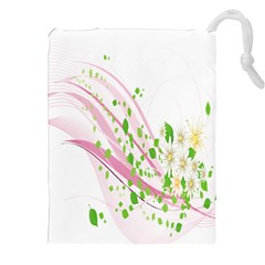 Sunflower Flower Floral Leaf Line Wave Chevron Pink Drawstring Pouches (xxl) by Mariart
