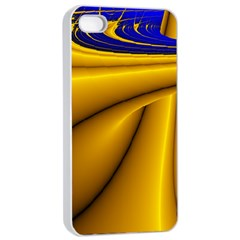 Waves Wave Chevron Gold Blue Paint Space Sky Apple Iphone 4/4s Seamless Case (white) by Mariart