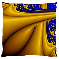 Waves Wave Chevron Gold Blue Paint Space Sky Large Cushion Case (one Side) by Mariart