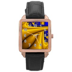 Waves Wave Chevron Gold Blue Paint Space Sky Rose Gold Leather Watch  by Mariart
