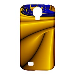 Waves Wave Chevron Gold Blue Paint Space Sky Samsung Galaxy S4 Classic Hardshell Case (pc+silicone) by Mariart