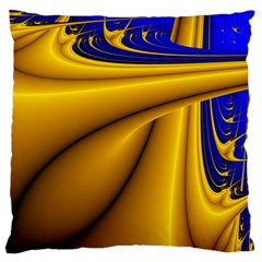 Waves Wave Chevron Gold Blue Paint Space Sky Large Flano Cushion Case (one Side) by Mariart