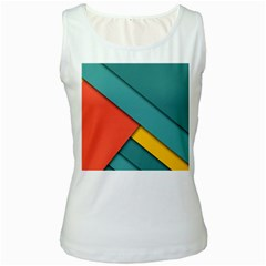 Color Schemes Material Design Wallpaper Women s White Tank Top