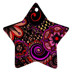 Sunset Floral Ornament (star) by Nexatart