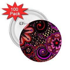 Sunset Floral 2 25  Buttons (100 Pack)  by Nexatart