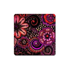 Sunset Floral Square Magnet
