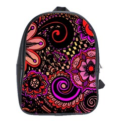 Sunset Floral School Bags(large)  by Nexatart