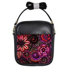 Sunset Floral Girls Sling Bags by Nexatart