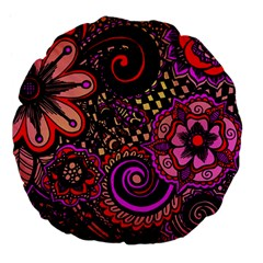 Sunset Floral Large 18  Premium Flano Round Cushions by Nexatart