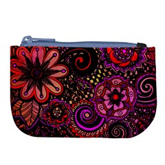 Sunset Floral Large Coin Purse by Nexatart