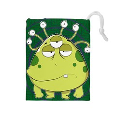 The Most Ugly Alien Ever Drawstring Pouches (large)  by Catifornia