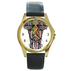 Prismatic Floral Pattern Elephant Round Gold Metal Watch