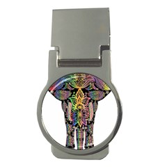 Prismatic Floral Pattern Elephant Money Clips (round)  by Nexatart