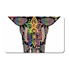 Prismatic Floral Pattern Elephant Magnet (rectangular) by Nexatart