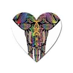 Prismatic Floral Pattern Elephant Heart Magnet by Nexatart