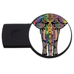 Prismatic Floral Pattern Elephant Usb Flash Drive Round (2 Gb) by Nexatart