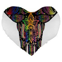 Prismatic Floral Pattern Elephant Large 19  Premium Flano Heart Shape Cushions by Nexatart