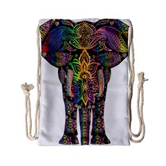 Prismatic Floral Pattern Elephant Drawstring Bag (small) by Nexatart