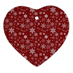Merry Christmas Pattern Ornament (heart) by Nexatart