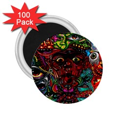 Abstract Psychedelic Face Nightmare Eyes Font Horror Fantasy Artwork 2 25  Magnets (100 Pack)  by Nexatart