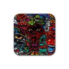 Abstract Psychedelic Face Nightmare Eyes Font Horror Fantasy Artwork Rubber Coaster (square)  by Nexatart