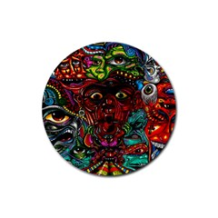Abstract Psychedelic Face Nightmare Eyes Font Horror Fantasy Artwork Rubber Coaster (round)  by Nexatart