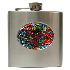 Abstract Psychedelic Face Nightmare Eyes Font Horror Fantasy Artwork Hip Flask (6 Oz)
