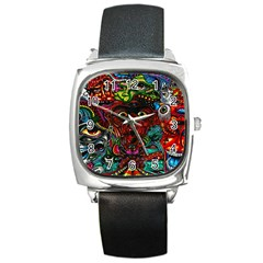 Abstract Psychedelic Face Nightmare Eyes Font Horror Fantasy Artwork Square Metal Watch