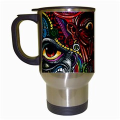 Abstract Psychedelic Face Nightmare Eyes Font Horror Fantasy Artwork Travel Mugs (white) by Nexatart