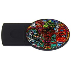 Abstract Psychedelic Face Nightmare Eyes Font Horror Fantasy Artwork Usb Flash Drive Oval (4 Gb) by Nexatart