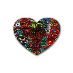 Abstract Psychedelic Face Nightmare Eyes Font Horror Fantasy Artwork Heart Coaster (4 Pack)  by Nexatart