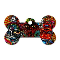 Abstract Psychedelic Face Nightmare Eyes Font Horror Fantasy Artwork Dog Tag Bone (two Sides) by Nexatart