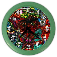 Abstract Psychedelic Face Nightmare Eyes Font Horror Fantasy Artwork Color Wall Clocks by Nexatart