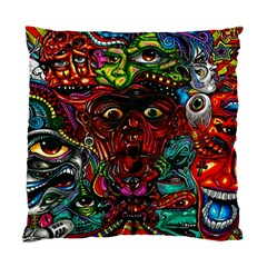 Abstract Psychedelic Face Nightmare Eyes Font Horror Fantasy Artwork Standard Cushion Case (two Sides)