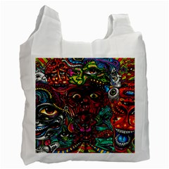 Abstract Psychedelic Face Nightmare Eyes Font Horror Fantasy Artwork Recycle Bag (two Side)