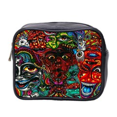 Abstract Psychedelic Face Nightmare Eyes Font Horror Fantasy Artwork Mini Toiletries Bag 2 Side by Nexatart
