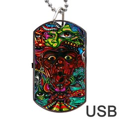 Abstract Psychedelic Face Nightmare Eyes Font Horror Fantasy Artwork Dog Tag Usb Flash (one Side) by Nexatart