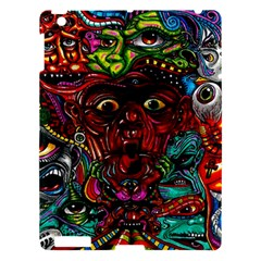 Abstract Psychedelic Face Nightmare Eyes Font Horror Fantasy Artwork Apple Ipad 3/4 Hardshell Case by Nexatart
