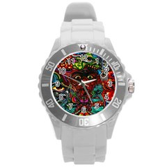 Abstract Psychedelic Face Nightmare Eyes Font Horror Fantasy Artwork Round Plastic Sport Watch (l) by Nexatart