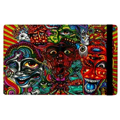 Abstract Psychedelic Face Nightmare Eyes Font Horror Fantasy Artwork Apple Ipad 3/4 Flip Case by Nexatart