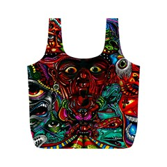 Abstract Psychedelic Face Nightmare Eyes Font Horror Fantasy Artwork Full Print Recycle Bags (m)  by Nexatart