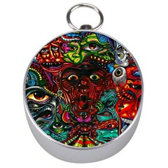 Abstract Psychedelic Face Nightmare Eyes Font Horror Fantasy Artwork Silver Compasses by Nexatart