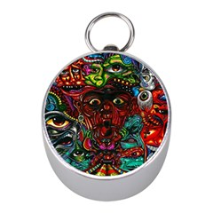 Abstract Psychedelic Face Nightmare Eyes Font Horror Fantasy Artwork Mini Silver Compasses by Nexatart
