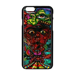 Abstract Psychedelic Face Nightmare Eyes Font Horror Fantasy Artwork Apple Iphone 6/6s Black Enamel Case by Nexatart